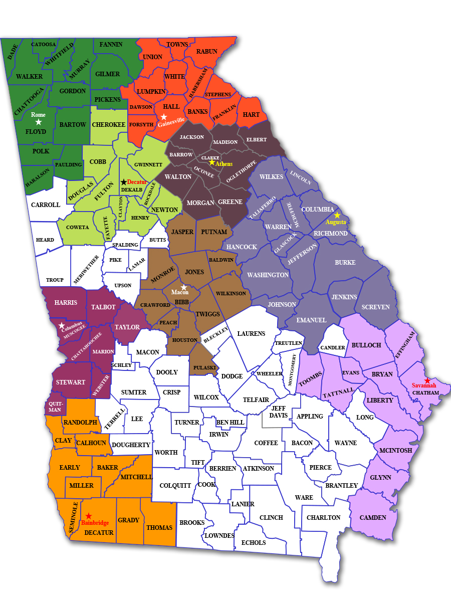 Find Your Center For Independent Living In Georgia Statewide - Georgia map macon