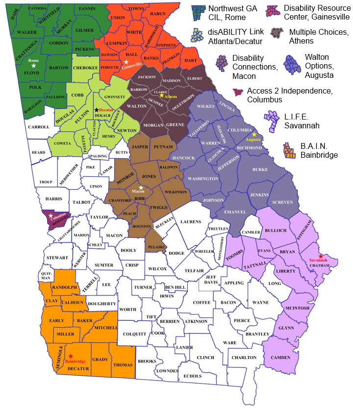 Central Georgia Map CIL Map legend – Statewide Independent Living Council of Georgia